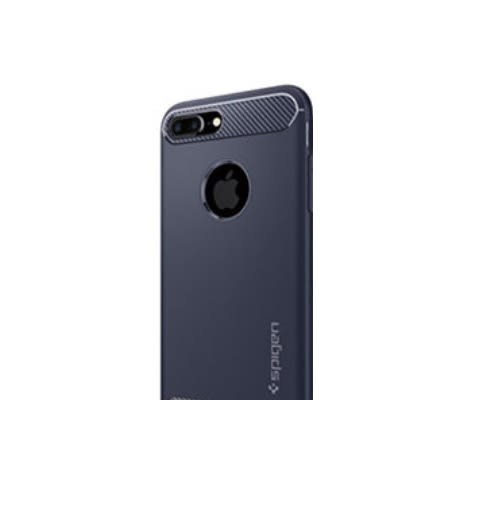 Spigen iPhone 8 Plus Rugged Armor 彈性防震保護殼 午夜藍,TPU+Carbon碳纖紋理, iPhone 7 Plus通用