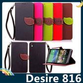 HTC Desire 816 撞色葉子保護套 荔枝紋側翻皮套 樹葉造型磁扣 支架 插卡 錢夾 手機套 手機殼