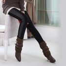 【Charm Beauty】春款 黑色 女士 拼接 拼皮 打底褲 女秋 顯瘦 大碼 鉛筆褲 彈力 靴褲 皮褲