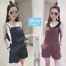 【V0957】shiny藍格子-簡約時尚.素色單色細肩帶寬鬆連身短褲