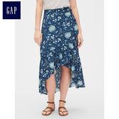 Gap女裝 中長款不規則半身裙 468657-藍底印花