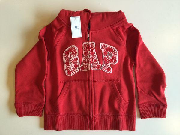 GAP 童裝 徽標外套 女童紅色基本款Logo內刷毛連帽外套