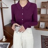 長袖針織上衣·秋冬薄款針織毛衣顯瘦修身長袖上衣女時尚韓版開衫T223B紅粉佳人