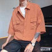 2019新款夏季短袖男港風韓版寬鬆七分原宿短袖襯衫 QW3679『俏美人大尺碼』