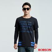 BOBSON 男款長版型假兩件印圖拼接潮T(35045-88)