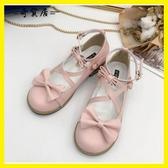 日系森女洛麗塔洋裝軟妹lolita公主鞋粗跟圓頭可愛蝴蝶結cos單鞋