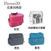 【聖影數位】JENOVA 吉尼佛背包內套 花系列內袋 FLOWER 33 尼龍 顏色:紅/黑/藍