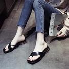 方頭人字拖鞋女外穿仙女風2020新款夏季時尚百搭粗跟夾腳網紅拖鞋 魔法鞋櫃