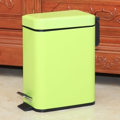 不銹鋼垃圾桶腳踏家用衛生間客廳廚房【5L長方形綠色】