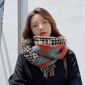 圍巾 雙面格子圍巾女季英倫經典百搭格紋披肩兩用保暖學生圍脖 快速出貨