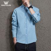 雙11大促銷-牛仔襯衫秋季牛仔襯衫男正韓修身長袖襯衣男學生情侶bf風男裝牛仔衣薄款潮