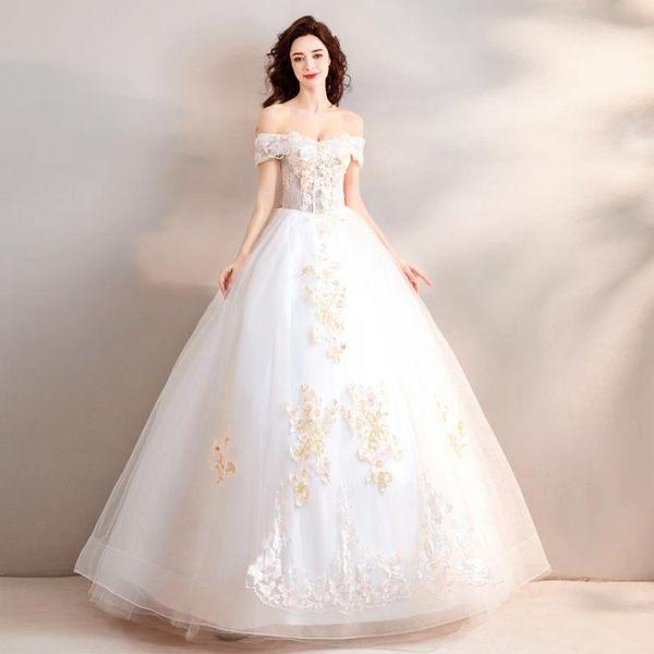 歐尚-花仙子 夢幻一字肩公主新娘婚紗禮服2018款2280