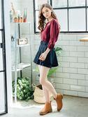 秋裝上市[H2O]不對稱剪接附腰帶短褲裙 - 紅/桔/深藍色 #8632008