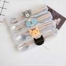 創意個性貓便攜餐具筷子勺子套裝可愛三件套學生叉子精品兒童筷盒 黛尼時尚精品