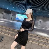 顯瘦 洋裝 修身連身裙緊身包臀裙拼接網紗露肩心機小黑裙低胸性感連身裙NE215紅粉佳人