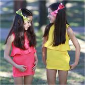 無袖腰身窄裙 夏日亮色系 彈力 女童 洋裝 連身裙 洋裝 洋裙 連衣裙 Augelute 52207