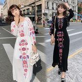 VK旗艦店 韓國民族風顯瘦刺繡花朵波西米亞長袖洋裝