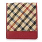 DAKS 經典斜格紋帆布短夾禮盒(紅色)230121-11