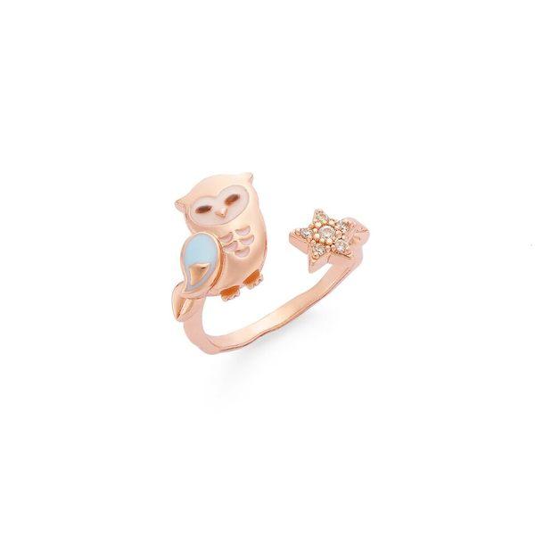 Pingkeu Yumeo 粉紅幽默天空藍星星貓頭鷹玫瑰金戒指