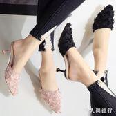 穆勒毛毛鞋夏新款細跟尖頭單鞋溫柔鞋外穿半拖女春季時尚百搭高跟拖鞋 DR16539【男人與流行】
