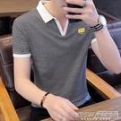 男士短袖t恤2020新款韓版潮流個性條紋polo衫體恤男裝夏裝上衣服CY『新佰數位屋』