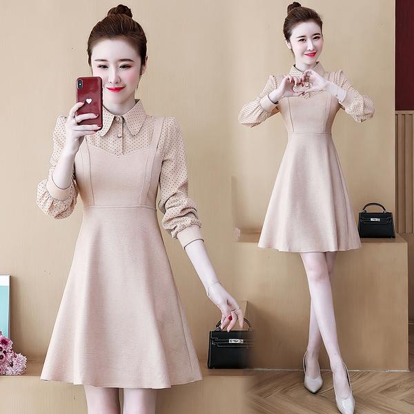第二件4折 韓系大碼波點氣質拼接洋氣假兩件長袖洋裝