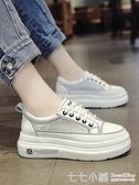 網面小白鞋女夏季單鞋學生百搭秋款系帶休閒增高厚底鬆糕女鞋