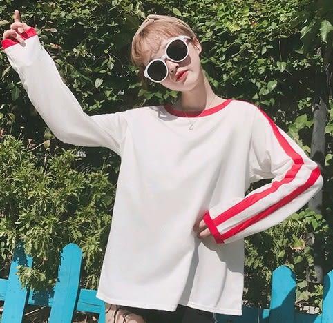 EASON SHOP(GU4349)紅白撞色條紋運動風圓領長袖T恤大學T女上衣服寬袖子韓版寬鬆黑白撞色條棉T大碼