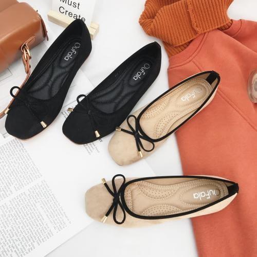 六月芬蘭方頭絨布麂皮芭蕾舞蝴蝶結黑邊娃娃鞋包鞋女鞋平底鞋黑色(35-41加大尺碼)現貨