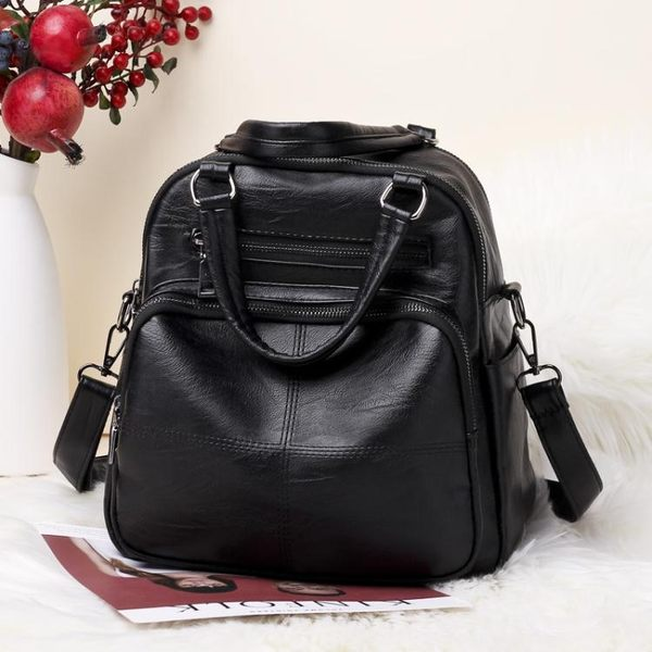 新款女包手提包女多功能後背包大容量兩用背包軟皮單肩側背包  卡布奇諾