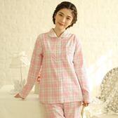 睡衣-長袖格紋舒適透氣棉質甜美女居家服套裝3色73ol44【時尚巴黎】
