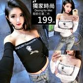 克妹Ke-Mei【AT62744】原單!appare品牌電繡玫瑰一字領露肩上衣
