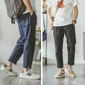 日系夏季亞棉麻修身男士直筒九分褲潮牌情侶裝寬鬆休閒褲 交換禮物