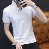 型男時尚休閒短袖T恤 立領純棉短袖POLO衫 白《P1037 》