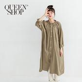 Queen Shop【01084352】荷葉領造型傘襬襯衫洋裝 兩色售*現+預*