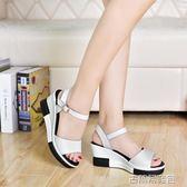 夏季新款韓版真皮厚底高跟女涼鞋坡跟鬆糕底百搭休閒防水台 古梵希