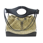 CHANEL 香奈兒 Chanel 31 黑色牛皮透明PVC仿稻草編織內袋 Shopping Bag【BRAND OFF】
