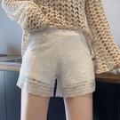 安全褲 居家可外穿安全褲女防走光寬鬆打底褲短褲蕾絲夏季白色薄款不卷邊-Ballet朵朵