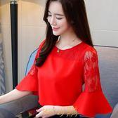 雪紡衫短袖女2019新款韓版百搭超仙甜美紅色上衣圓領喇叭袖蕾絲衫