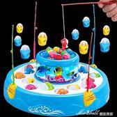 兒童釣魚玩具電動小貓雙層磁性旋轉釣魚寶寶益智玩具   蜜拉貝爾