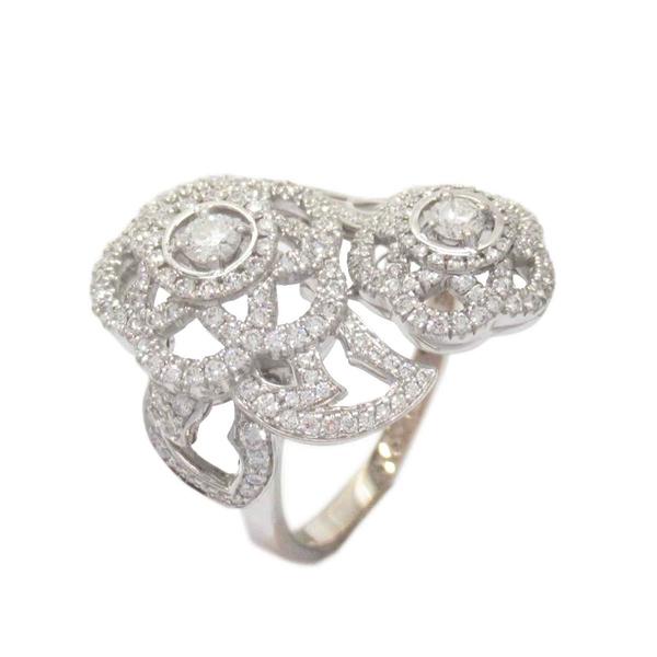 CHANEL 香奈兒 18白K金雙色山茶花造型鑲鑽戒指 Camelia Ring 12.5號【BRAND OFF】