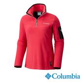 Columbia 女 鈦PL100拉鍊立領上衣-桃紅色 UAR03310FC【GO WILD】