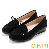 ORIN 經典復古 嚴選高優質牛皮楔型跟鞋-絨黑
