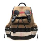【台中米蘭站】全新品 BURBERRY CANVAS 格紋棉麻後背包 (4030201-卡其)