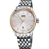 ORIS 豪利時 ARTIX DATE 18K玫瑰金圈日期機械錶-39mm  0173377136331-0781980