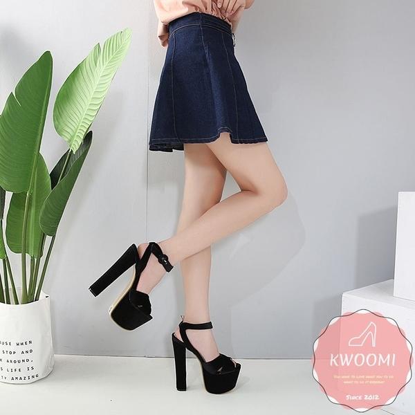高跟涼鞋 粗跟寬面交叉蘿莉風 高跟鞋 晚宴鞋 新娘鞋*KWOOMI-A103