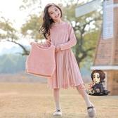 兒童洋裝 女童洋裝秋冬裝新年加絨兒童公主裙套裝裙子金絲絨小女孩拜年服 2色