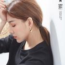 耳環 金屬感復古弧形S925銀針耳飾-B...