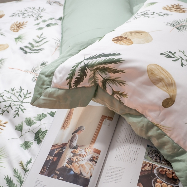 天絲床組 碧草如茵 S4 單人薄床包鋪棉兩用被三件組(60支) 100%天絲 棉床本舖
