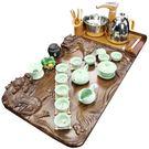 茶具套裝 紫砂茶具套裝家用整套功夫簡約全自動電熱磁爐喝茶壺實木茶盤茶道 莎瓦迪卡